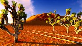 Joshua trees and railroad Stock Photo