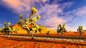 Joshua trees and railroad Royalty Free Stock Images