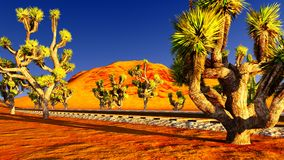 Joshua trees and railroad Royalty Free Stock Photography