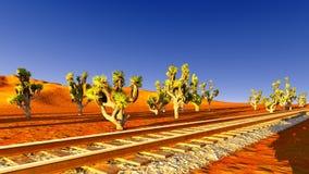 Joshua trees and railroad Royalty Free Stock Photo