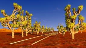 Joshua trees and railroad Stock Photography
