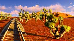 Joshua trees and railroad Stock Photos