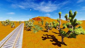 Joshua trees and railroad Stock Images