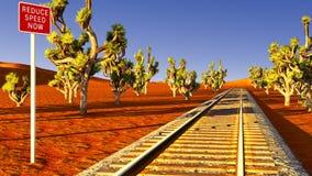 Joshua trees and railroad Stock Image