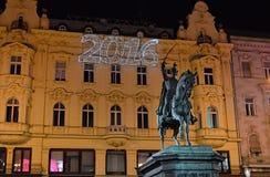 Josip禁令Jelacic,萨格勒布,克罗地亚雕象  免版税库存图片