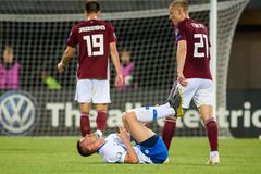 Josip Ilicic #7, lying on the ground , during UEFA EURO 2020 Qualification game. RIGA, LATVIA. 10th of June, 2019. Josip Ilicic #7, lying on the ground , during stock photos