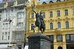 Josip Jelacic Statue en Zagreb Imagen de archivo