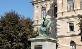 Josip Juraj Strossmayer bishop and benefactor monument at Strossmayer Square park in Zagreb. ZAGREB, CROATIA - AUGUST 29, 2018: Josip Juraj Strossmayer bishop royalty free stock images