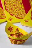 Joss Paper Chinese Tradition for passed away ancestor`s spirits.  Stock Photography