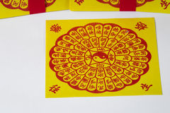 Joss Paper Chinese Tradition for passed away ancestor`s spirits.  Stock Images