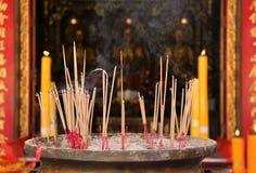 Joss stick burning at china temple Stock Image