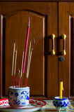 Joss stick and candle Stock Photography