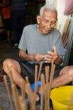 The Joss Stick Maker of Penang. The oldest Joss Stick Maker of Penang Stock Photography