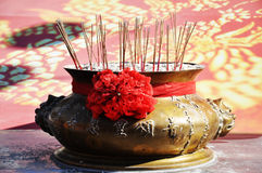 Joss-stick pot Royalty Free Stock Photo