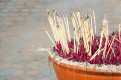 Joss stick pot Royalty Free Stock Photo