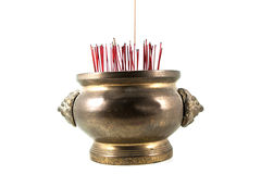 Joss stick pot. For religion and temple on white background Royalty Free Stock Images