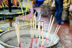Joss stick pot. With smoke at place of worship Royalty Free Stock Photography