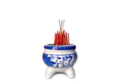 Joss stick pot. On white background Stock Images