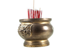 Joss stick pot. On white background for temple Stock Photography