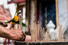 Joss stick for pray. Joss stick ignited for pray at chalong temple , Phuket, Thailand Royalty Free Stock Image