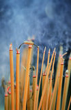 Joss sticks. Rows of joss sticks stock image