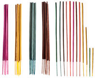 Colorful incense sticks groups and singles Stock Images