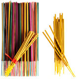 Colorful incense sticks groups and singles Royalty Free Stock Images