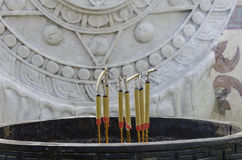 Joss sticks in front of temple Royalty Free Stock Images