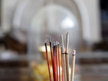 Joss sticks incense with ash Stock Photo