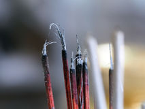 Joss sticks incense with ash Stock Images