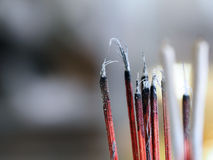 Joss sticks incense with ash Royalty Free Stock Photo