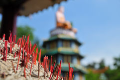 Joss Sticks and Religious Statues Royalty Free Stock Photo