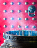 Joss Sticks Urn at Temple's Door Royalty Free Stock Photos
