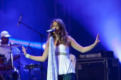 Joss stone on the stage. Joss stonne in slovenia on a big concert with many slovenian groups Stock Image