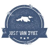 Jost Van Dyke logo sign. Travel rubber stamp with the name and map of island, vector illustration. Can be used as insignia, logotype, label, sticker or badge Stock Photography