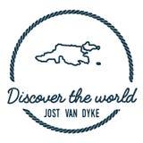 Jost Van Dyke Map περίληψη Στοκ Φωτογραφία