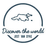 Jost Van Dyke Map Outline. Vintage Discover the World Rubber Stamp with Island Map. Hipster Style Nautical Insignia, with Round Rope Border. Travel Vector Stock Photography