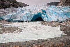 Jostedalsbreen glacier and glacial river in Norway Stock Image