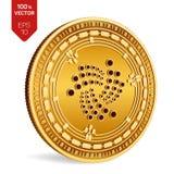 jota 3D isometrisch Fysiek muntstuk Digitale munt Cryptocurrency Gouden die muntstuk met jota-symbool op witte achtergrond wordt  Royalty-vrije Stock Foto