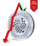 jota Daling Rode pijl neer Jota-de indexclassificatie daalt op uitwisselingsmarkt Crypto munt 3D isometrische Fysieke Zilveren mu Royalty-vrije Stock Afbeelding