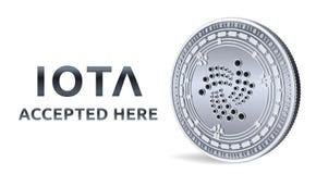jota Toegelaten tekenembleem Crypto munt Zilveren die muntstuk met jota-symbool op witte achtergrond wordt geïsoleerd 3D isometri Royalty-vrije Stock Afbeeldingen