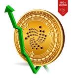 jota wzrost zieleń strzała zieleń Jota wskaźnika ocena iść up na wekslowym rynku Crypto waluta 3D isometric Fizyczny Złoty mennic ilustracja wektor
