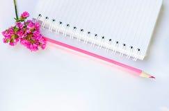 Jotter, lápis e flor fotografia de stock royalty free