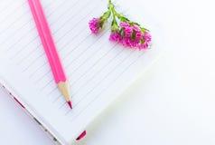 Jotter, lápis e flor fotografia de stock