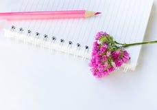 Jotter, lápis e flor imagens de stock