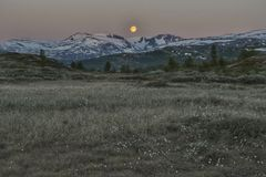 Jotunheimen in Norway. Early morning moon Royalty Free Stock Image