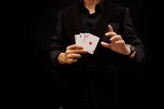 Jouant des cartes, as quatre Image libre de droits