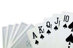 Jouant des cartes - d'isolement sur le fond blanc photos libres de droits