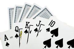 Jouant des cartes - d'isolement sur le fond blanc images libres de droits