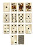 Jouant des cartes du costume de clubs dans le style de vintage d'isolement sur le blanc illustration libre de droits